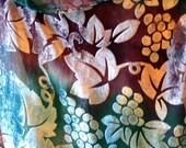 Silk and Velvet Scarf in Lavish Grape Vine in Grape and Teal
