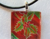 Christmas Jewelry - Red Necklace - Glass Tile - Holly Leaf