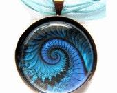Blue Waves Glass Tile Pendant
