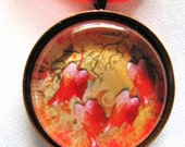 Pendant Necklace - Leaf Necklace - Fall - Glass Tile - Red - Orange - Brown Earth