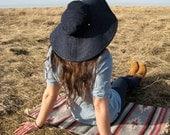 Wide Brimmed Sun Hat // Floppy Hat // Blue Denim