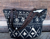 Canvas, Leather, and Denim Market Tote // Beach Bag with Tribal Geometric Print