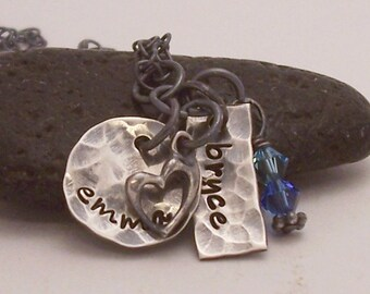 Mother's antiqued Two name or name and birthday personalized hand stamped necklace