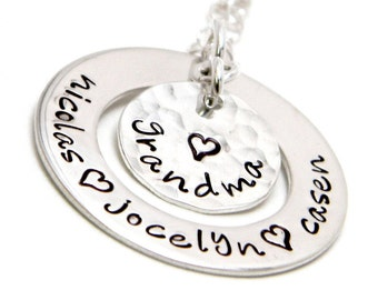 Grandma's Keepsake - Personalized Sterling silver hand stamped necklace