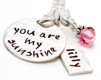 You are My Sunshine - Personalized Necklace - Hand Stamped Jewelry