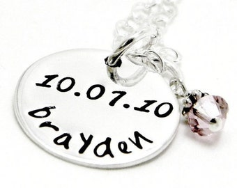 Hand Stamped Jewelry - Personalized Mom Jewelry - Baby name Necklace
