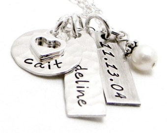 Personalized Mom Necklace - Hand Stamped Jewelry - Sterling Silver