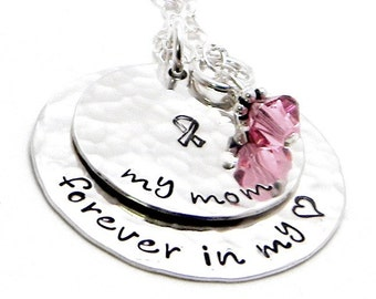Breast Cancer Awareness - Personalized hand stamped sterling silver necklace