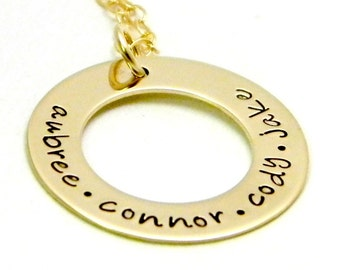 Personalized Gold Filled Necklace - Hand Stamped Necklace - Mama's Golden Circle of Love
