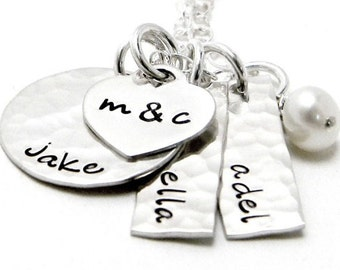 Personalized Mommy Necklace - Hand Stamped Jewelry