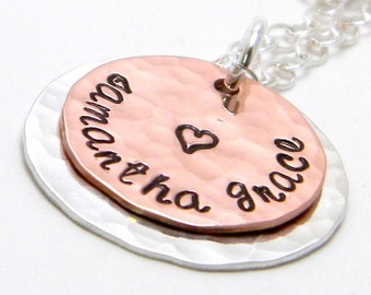 Personalized sterling silver and copper hand stamped necklace - My Heart -