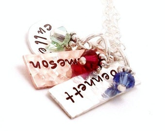 Hand Stamped personalized Necklace - Metal Mix Up