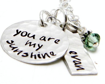 You are My Sunshine - Personalized sterling silver hand stamped necklace