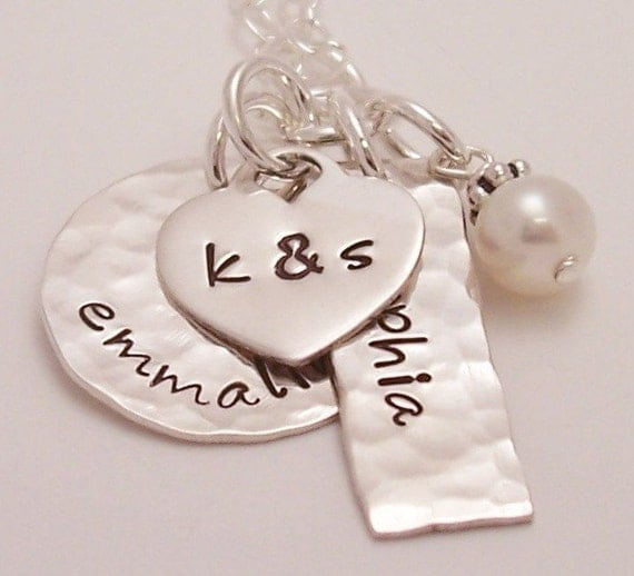 Close to My Heart - Personalized handstamped sterling silver necklace