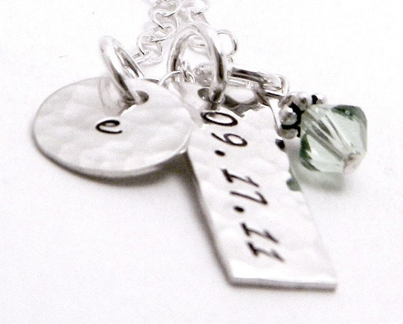 Baby Initial Keepsake - Personalized hand stamped sterling silver necklace