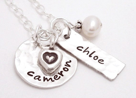 Two name Hammered hand stamped sterling silver personalized necklace