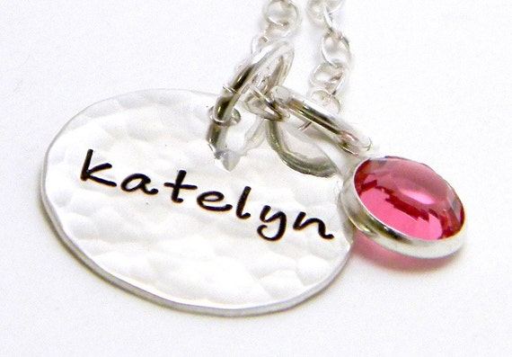 Mama's Little One- Personalized sterling silver hand stamped necklace