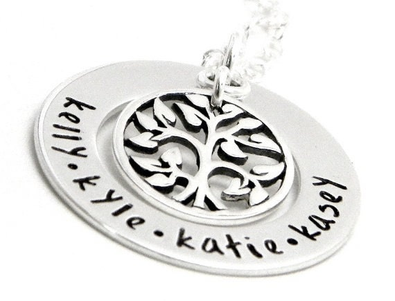 Personalized Hand Stamped Mom Necklace  - Eternal Tree of Life