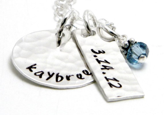 Personalized Sterling Silver Hand Stamped Necklace - Beautiful Baby