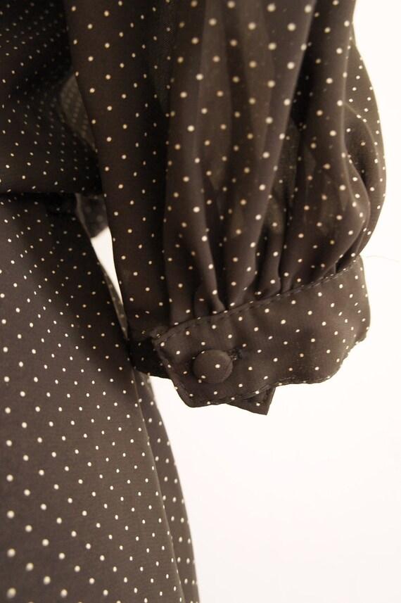 Vintage 1980's chiffon black and white pin-dot print, three quarter sleeve semi-sheer dress
