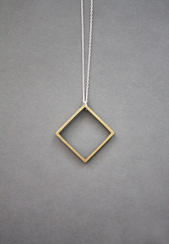 Square necklace - brass, silver