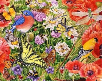 Birds and Butterflies in the Garden Art Print