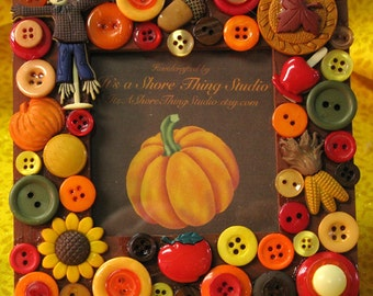 Autumn Colors Embellished Button Picture Frame