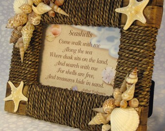 Seashell Picture Frame Seagrass Rattan With Seashell Poem