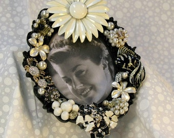 Gorgeous Jeweled Picture Frame Vintage Jewelry Enamel Flower Brooch Black and White Wall Hook