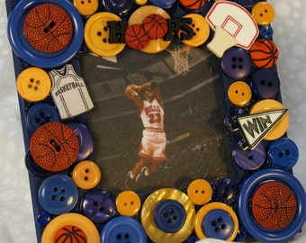 Basketball Button Embellished Picture Frame