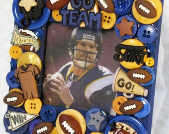 Football Button Embellished Picture Frame