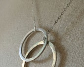 Sterling Double Circle Hoop Necklace Lariat Silver