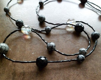 Snowflake obsidian and Czech glass necklace. Snowflake obsidian properties. Obsidian necklace.