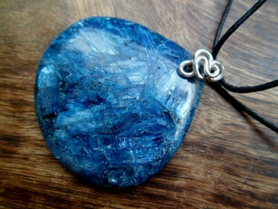 Blue apatite and sterling silver necklace.