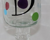 The Southern Style Wine Glass TM with Inital and Polka Dots