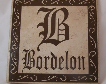 Ceramic Tile Name Plate Initial and Last Name with Square Decorative Border - 12 inch