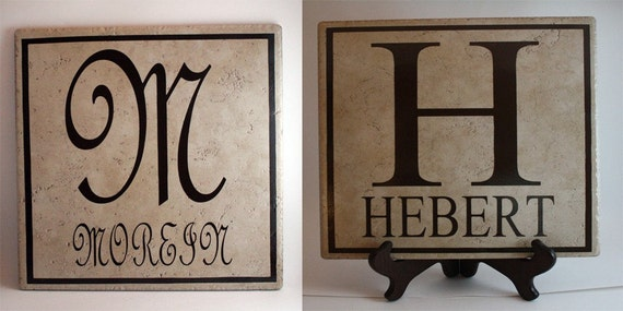 Ceramic Tile Name Plate With Initial Last Name By Tincyscorner