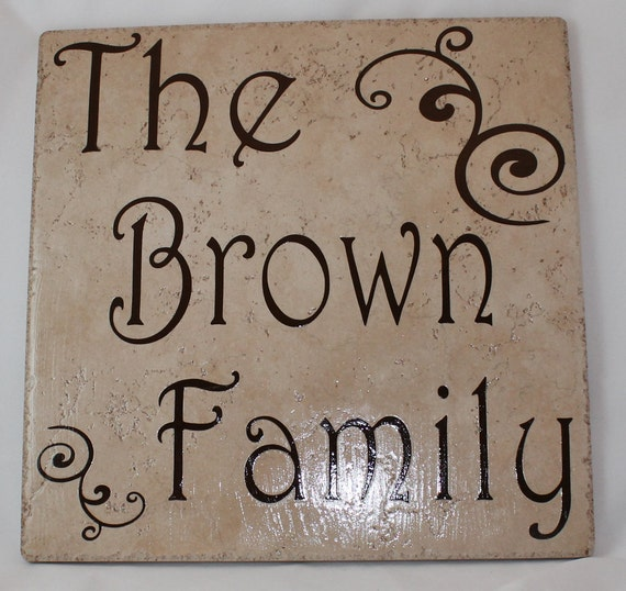 Ceramic Tile Name Plate with Last Name Family - 12 inch