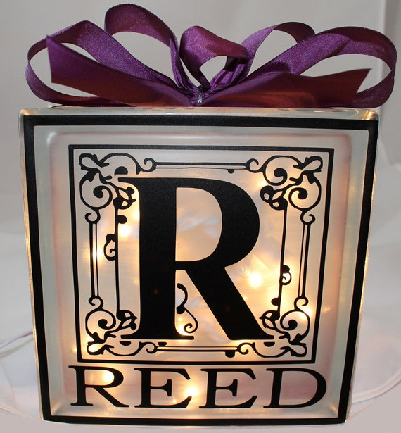 Decorative glass block with initial and last name for Designer glass block