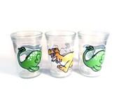 Vintage dinosaur glasses - 80s Welch's jelly jar glasses