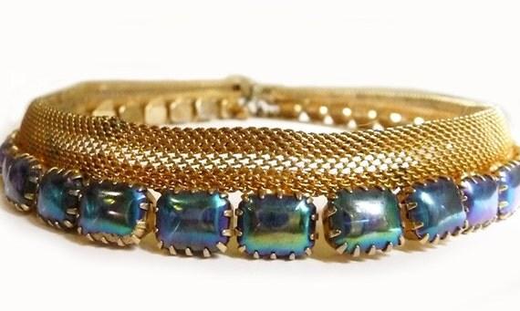 Vintage necklace & bracelet set - gold mesh with aurora borealis rhinestones