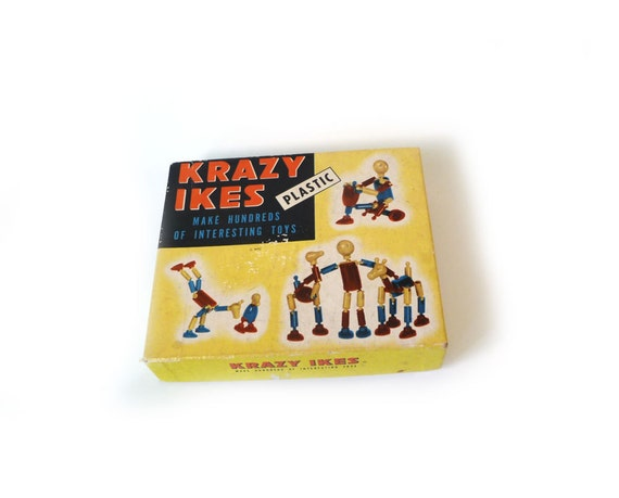 Krazy Ikes vintage plastic construction toy - yellow red blue