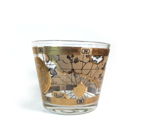 Vintage glass ice bucket - black and gold caribean map