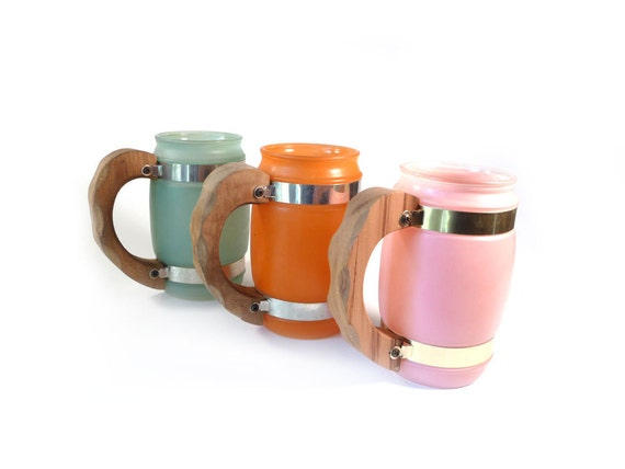 Vintage barrel mugs - pink orange and green frosted glasses