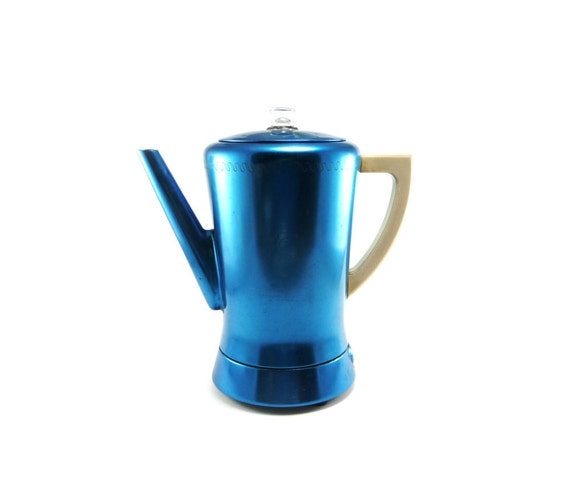 Bright blue West Bend coffee percolator from the 50s