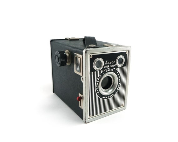 Ansco Shur Shot camera - vintage 1940s black silver pinstriped box camera