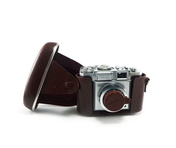 Zeiss Ikon Prontor-SVS camera - black silver with 45mm lens and french roast brown case