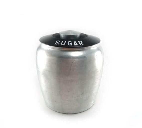 Kromex aluminum sugar canister - vintage 1950s canister
