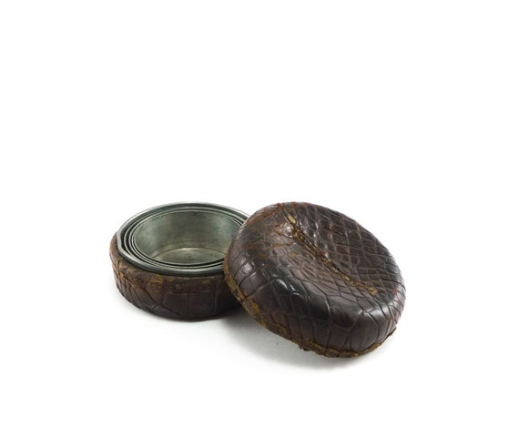 Civil war era collapsible cup in brown reptile leather case - french roast