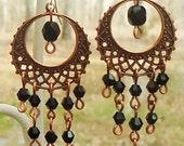 Copper and Black Crystal Chandelier Earrings on Sterling Silver Earwire